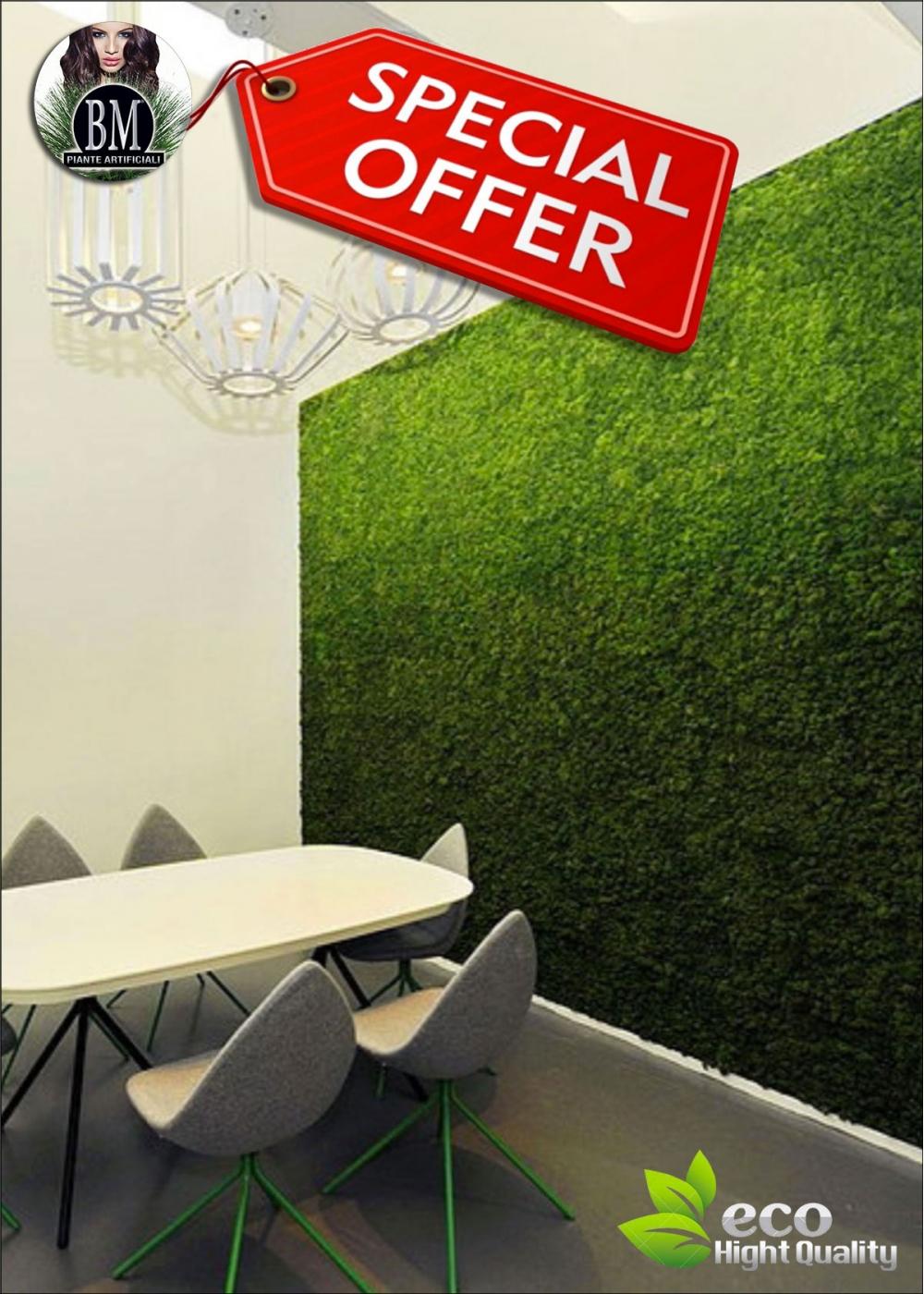 Pareti Verdi Verticali Costi parete di lichene naturale stabilizzato - pannelli da 75x75m